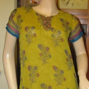 Yellow-Green Tunic Dress with Embroidery & beads M